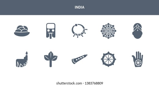 10 india vector icons such as karma, dharma, shehnai, bael tree, dipa contains bindi, mandala, devi, tuk tuk, kanji vadas. india icons