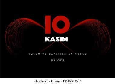 10 Kasim Ataturk Anma Gunu (Translation: 10th of November The Commemoration of Ataturk in Turkey) Vector Illustration