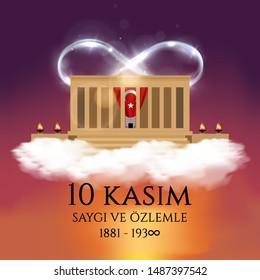 10 kasim commemorative date November 10 death day Mustafa Kemal Ataturk , first president of Turkish Republic. translation Turkish. November 10, respect and remember. Vector illustration.