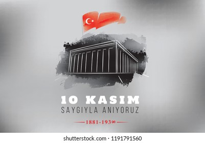 10 kasim - 10 November, Mustafa Kemal Ataturk Death Day. Typography vector design.