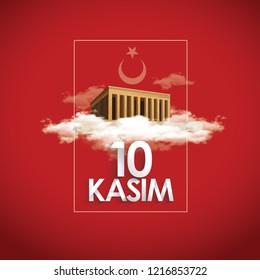 10 kasim - 10 November, Mustafa Kemal Ataturk Death Day. Typography vector design with Mausoleum of M.K. Ataturk Anitkabir.