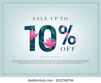 10% lettering handmade with leaves and flower tropical decoration. For Sale discount, Web Promotion, Poster Banner Background, Sign and symbol. Luxury unique style, Green color, Vector illustration