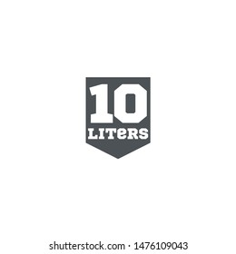 10 Liters l sign l-mark estimated volumes milliliters (ml) Vector symbol packaging, labels used for prepacked foods, drinks different liters and milliliters. 10 litre vol single icon isolated on white