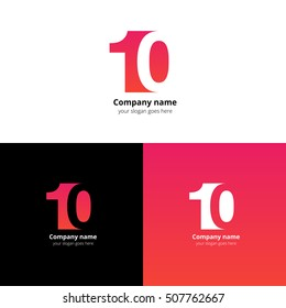 10 logo icon flat and vector design template. Monogram numbers one and zero. Logotype ten with red-pink gradient color. Creative vision concept logo, elements, sign, symbol for card, brand.