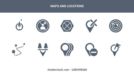 10 maps and locations vector icons such as map transports, marked place, minus location, motion, national park pin contains navigation trajectory, nearby, no gps, no stopping, no waiting. maps and