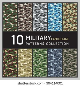 10 Military camouflage pattern. Collection of seamless patterns background.
