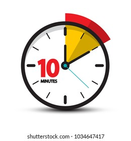 10 Minutes Clock Face. Vector Ten Minute Icon.