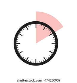 10 minutes timer. Office clock with pink 10 min segment
