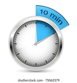10 minutes timer office clock with blue 10 min segment