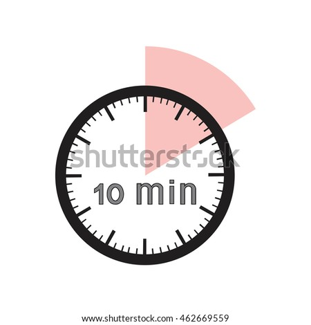 10 minutes timer office clock pink stock vector royalty free