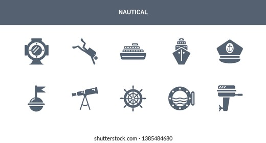 10 nautical vector icons such as boat engine, boat porthole, boat steering wheel, telescope, buoy contains captain hat, cargo ship front view, cruise ship, diver, diving helmet. nautical icons
