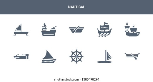 10 nautical vector icons such as seaworthy, windsail, marine, felucca, motorboat contains caravel, trireme, skiff, gunboat, iceboat. nautical icons