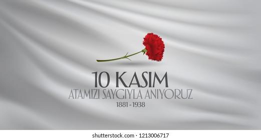 10 November, Mustafa Kemal Ataturk Death Day anniversary. Memorial day of Ataturk. Billboard Design. (TR: 10 Kasim, Atamizi Saygiyla Aniyoruz.)