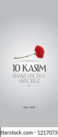 10 November, Mustafa Kemal Ataturk Death Day anniversary. Social Media Story and Flag, Flama, Roll-up Design. (TR: 10 Kasim, Atamizi Saygiyla Aniyoruz. Sosyal Medya Hikaye ve Flama Tasarimi)