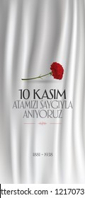 10 November, Mustafa Kemal Ataturk Death Day anniversary. Social Media Story and Flag, Flama, Roll-up Design. (TR: 10 Kasim, Atamizi Saygiyla Aniyoruz. Sosyal Medya Hikaye ve Flama Tasarimi)