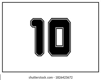 10 number classic american, college style font. Uniform letter in black with a black outside contour line. Vintage sport font.For jersey, t-shirt, basketball, baseball, football. Isolated vector