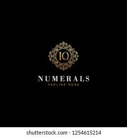 10 Numerals Luxury elegant victorian floral filigree frame badge pattern with number 10 inside the circle badge emblem logo design vector in gold colors
