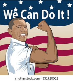 10 october 2015, A vector illustration of a portrait of President Obama on the background of the American flag. USA president Barack Obama figure with comic cloud: We Can Do It.  Presidential Campaign.