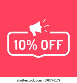 10% off. Badge with megaphone icon. Flat vector illustration on red background.
