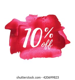 10% OFF card, poster, logo, lettering, words, text written on red pink painted background vector illustration