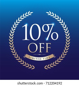 10% OFF circle sign icon. Discount symbol. Blue Background