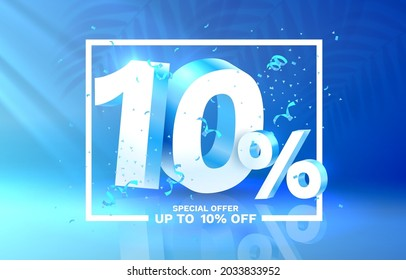 10 Off. Discount creative composition. 3d sale symbol with decorative objects. Sale banner and poster. Vector illustration.