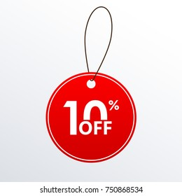 10% off. Discount or Sale price tag.  Save 10 percent icon. Vector illustration.