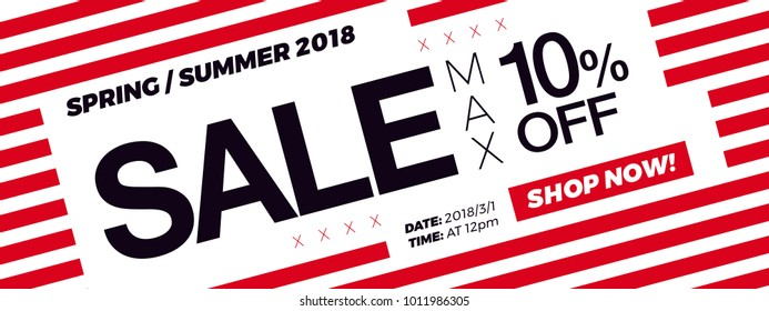 10% OFF Discount. Sale promotion campaign web banner or newsletter design template. Fashion and stylish promo discount coupon. Summer Sale modern Special offer web banner or email horizontal template.