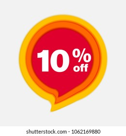 10% OFF Discount Sticker. Sale Red Tag Isolated Vector Illustration. Discount Offer Price Label, Vector Price Discount Symbol.Paper cut and craft style.