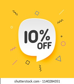 10% off, Flat sales Vector badges for Labels, , Stickers, Banners, Tags, Web Stickers, New offer. Discount badge in yellow background