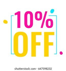 10% off. Flat vector badge icon illustration on white background.