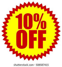 10% OFF red yellow promotion starburst badge with text