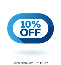 10% OFF rounded sign icon. Discount symbol.