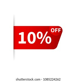 10% OFF Sale Discount Banner. Discount offer price tag. Special offer sale red label. Vector stock illustration.