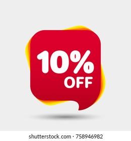 10% Off Sale Discount Banner. Price tag. Special offer sale red label. Modern Sticker. Vector Illustration.