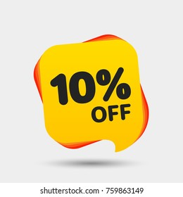 10% Off Sale Discount Banner. Price tag. Special offer sale yellow label. Modern Sticker. Vector Illustration.