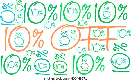 10% Off - Ten Percent Off word cloud on a white background.