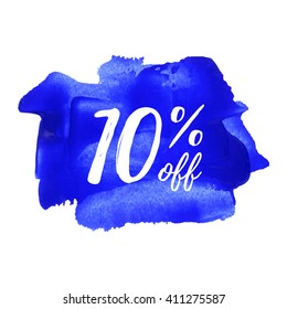 10% OFF vector text, logo, card, poster, word, written on painted blue background