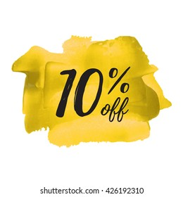 10% OFF vector text, logo, card, poster, word, written on painted yellow background