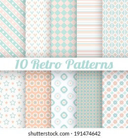 10 Pastel retro different vector seamless patterns (tiling). Endless texture can be used for wallpaper, web page background, surface textures. Set of geometric ornaments. Orange, blue and white colors
