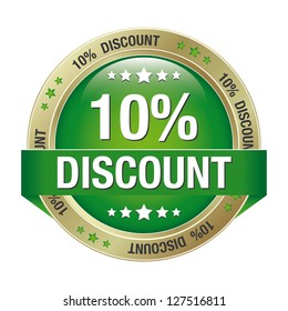 10 percent discount green gold button isolated
