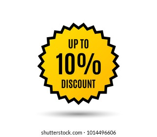 Up to 10 percent Discount. Sale offer price sign. Special offer symbol. Save 10 percentages. Star button. Graphic design element. Vector