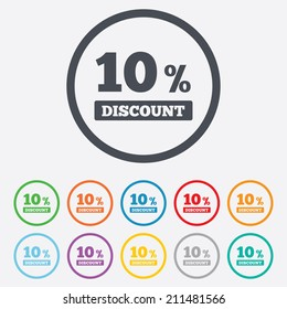 10 percent discount sign icon. Sale symbol. Special offer label. Round circle buttons with frame. Vector