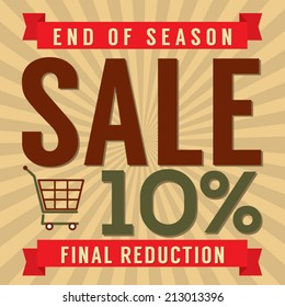 10 Percent End of Season Sale Vector Illustration