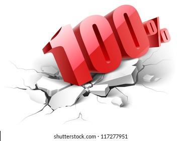 10 percent  icon on white background