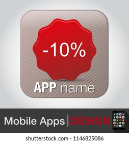 10 percent off - coupon, special discount, sale icon, offer sign, label price