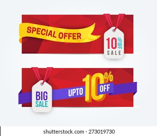 10 Percent Off Discount promotion advertising banners set isolated vector illustration