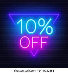 10 percent off neon lettering. Vector illustration