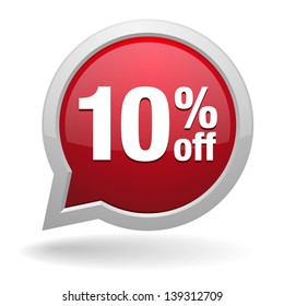 10 percent off speech bubble