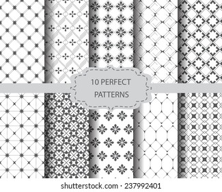 10 perfect vintage patterns, Swatches, vector, Endless texture can be used for wallpaper, pattern fills, web page,background,surface